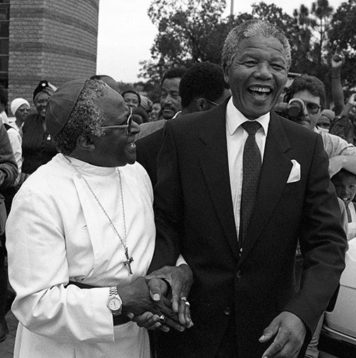 Archbishop Desmond Tutu with Nelson Mandela a week after Mandela's release from prison.