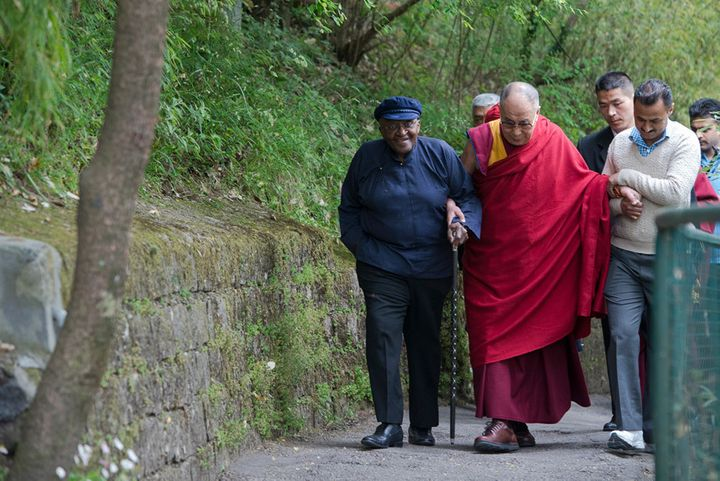 Archbishop Desmond Tutu walks with the Dalai Lama near the Dalai Lama's home in Dharamsala, India.