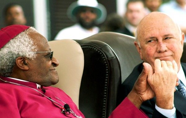 <em>Archbishop Tutu with former South African president, FW De Klerk</em>