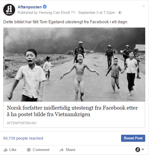 This screengrab shows Aftposten calling out Facebook in a post that the social media giant later deleted.