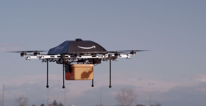 Amazon testing Prime Air customer drone delivery in England.