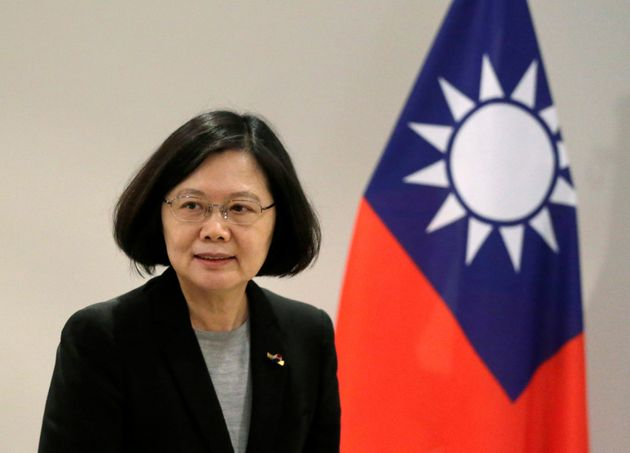Taiwan's President Tsai Ing-wen arrives before an interview in Luque, Paraguay, June 28,