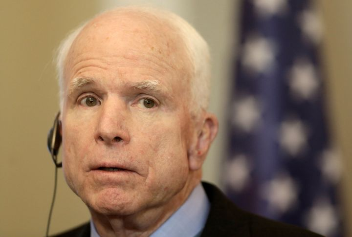 U.S. Senator John McCain speaks during a news conference in Riga, Latvia, December 28, 2016.