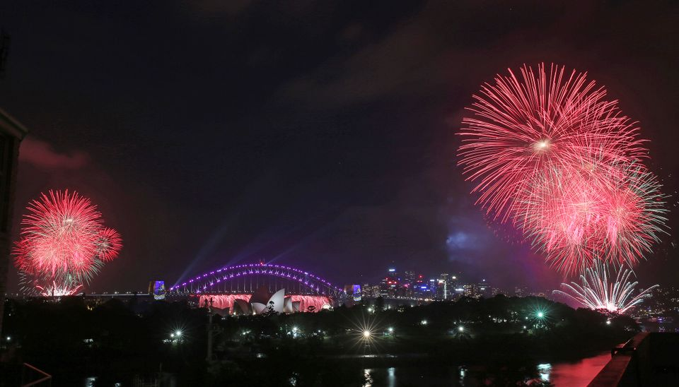 The glittering display over Sydney's famed harbour and bridge featured Saturn and star-shaped