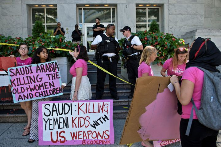 Protests calling for tougher moves against Saudi Arabia over Yemen and in support of the Saudi 9/11 bill were a common s