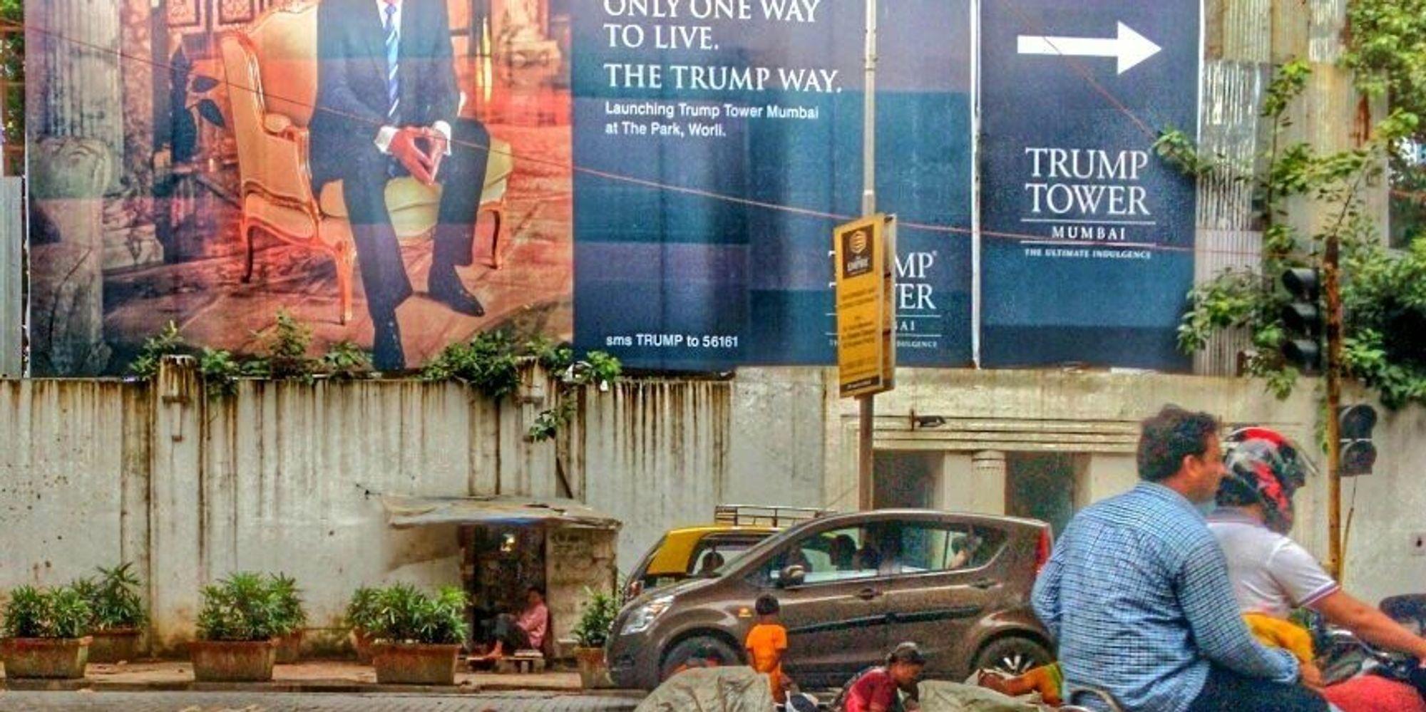 entry trump tower billboard mumbai homeless cebdabb