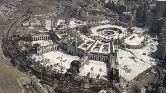 An aerial view shows the Grand mosque and the Kaaba in Saudi Arabia's holy Muslim city of Mecca on September 25, 2015. At least 700 people were killed and hundreds wounded during a stampede at the annual hajj in Saudi Arabia, in the second tragedy to strike the pilgrims this year. AFP PHOTO/MOHAMMED AL-SHAIKH        (Photo credit should read MOHAMMED AL-SHAIKH/AFP/Getty Images)