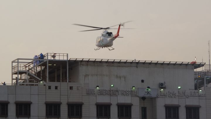 An ambulance helicopter lands at a hospital after hundreds of Muslim hajj pilgrims were killed and injured in a stampede near