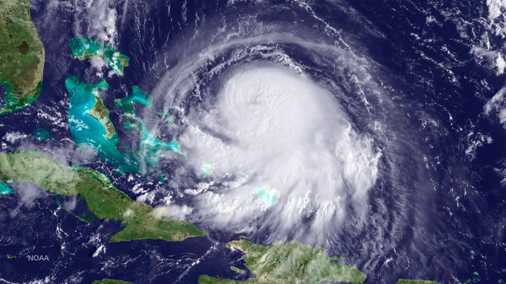 Hurricane Joaquin is seen approaching the Bahamas on Sept. 30, 2015.