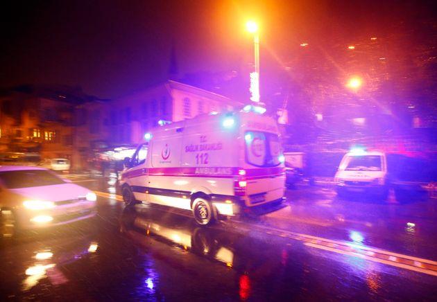 Ambulance car drives next to nightclub in Istambul,