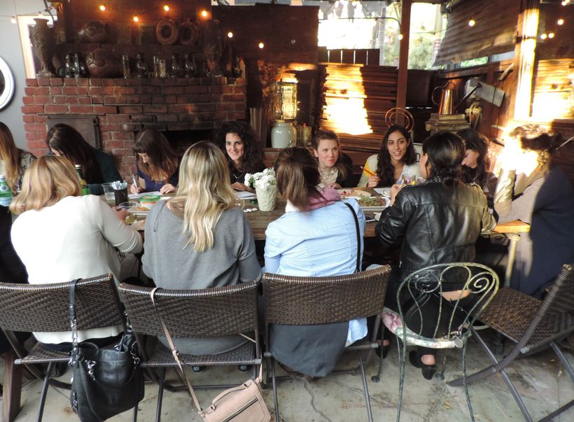 Women at a One Roof coloring book party at their Venice Beach pop-up location in March