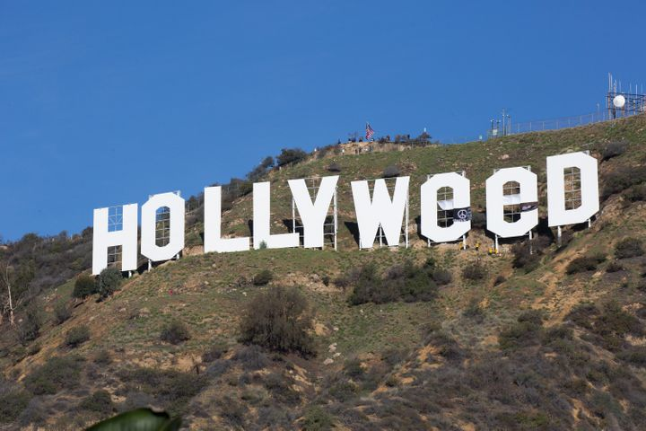 The iconic Hollywood sign gets changed to read 'Hollyweed'.