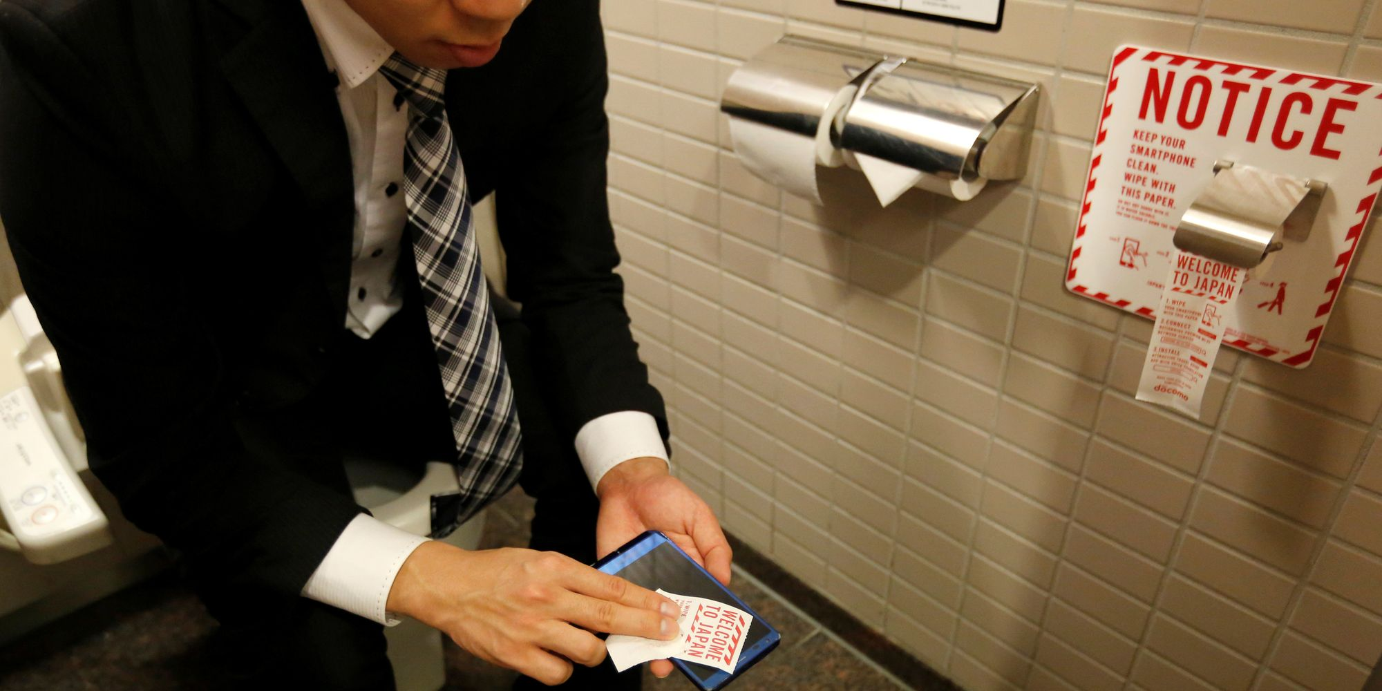 Of Course Japanese Restrooms Now Have Special Toilet Paper For Wiping Your Phone