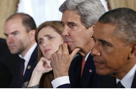 From left to right: Ben Rhodes, Samantha Power, John Kerry, Barack Obama