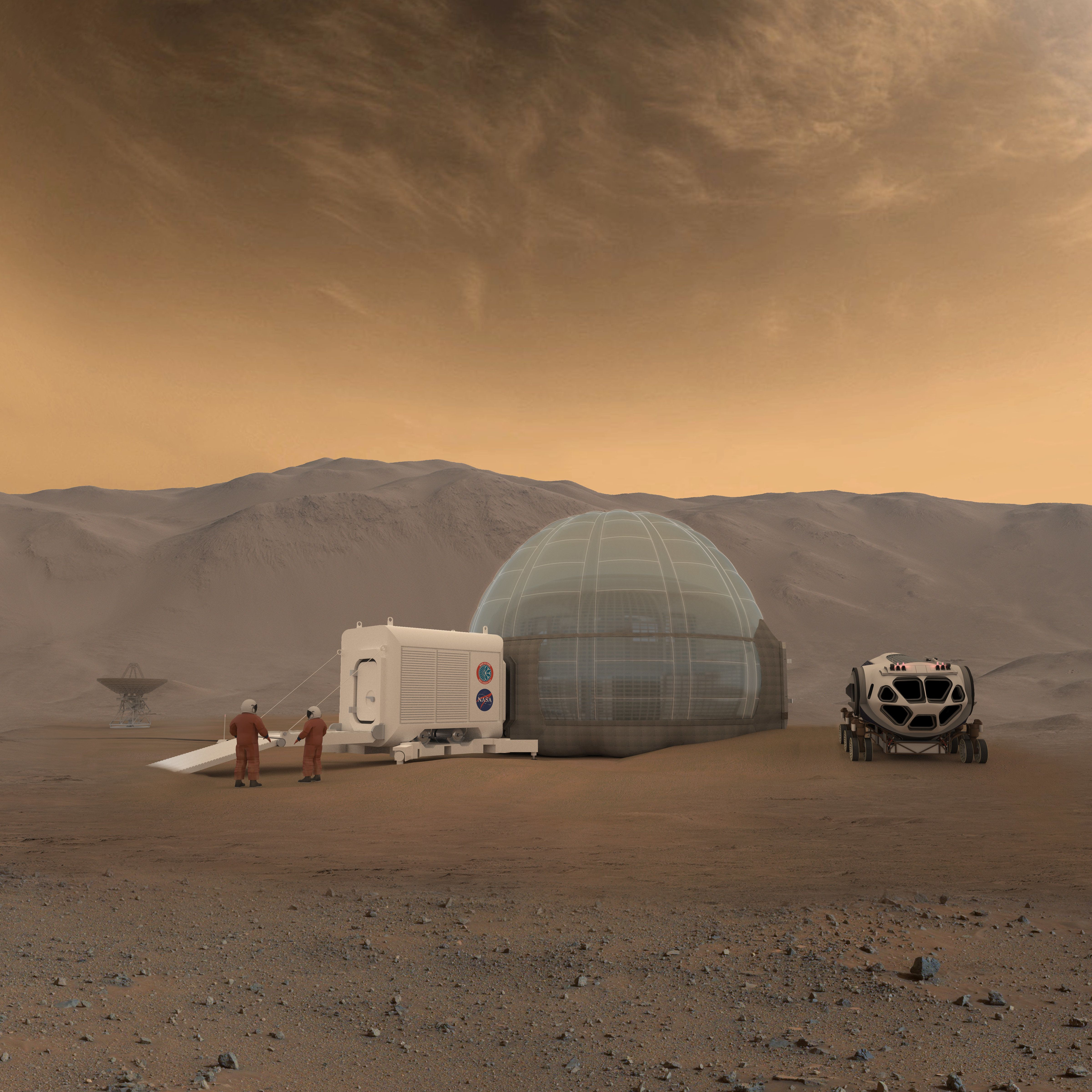 An artist's rendering of the Mars Ice Home
