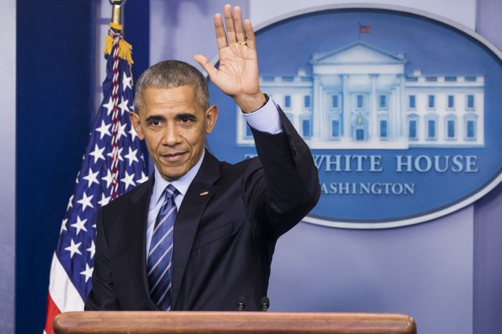 Obama waves to reporters at his end-of-year press conference in December. Next week, he will deliver what will likely be