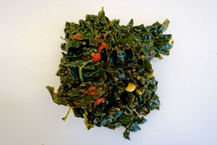 A little leftover cooked Tuscan kale (cavolo nero)