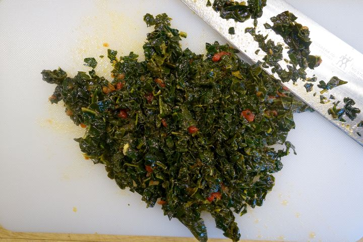 <p>After draining, the kale was finely chopped</p>