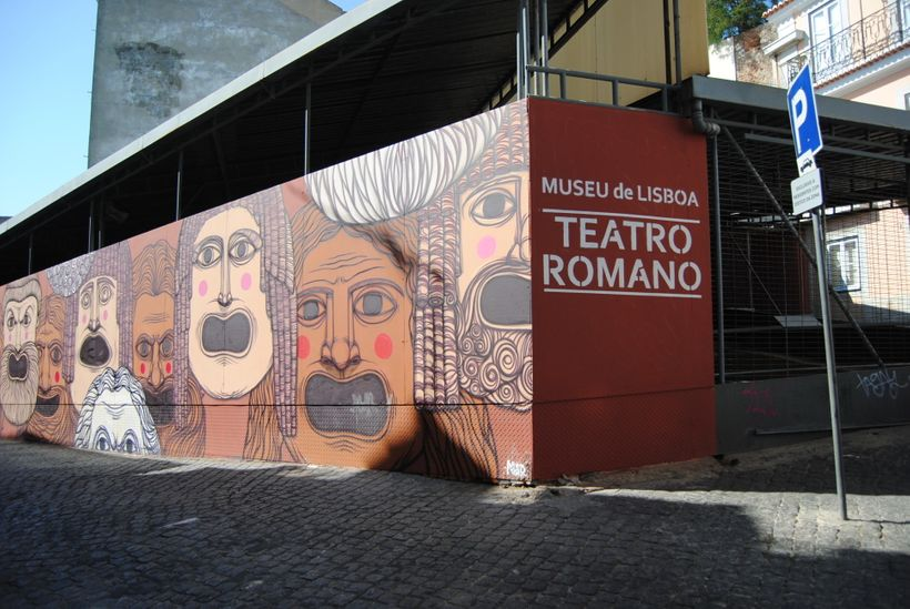 Protected excavation site of the Museu do Teatro Romano in Lisbon