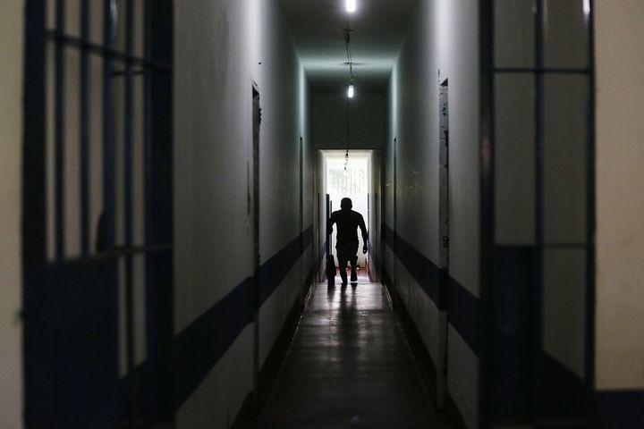 A detainee walks in the Anisio Jobim penitentiary complex on June 24, 2015 in Manaus, Amazonas state, Brazil.