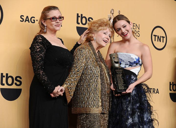 Carrie Fisher, Debbie Reynolds and Billie Catherine Lourdat the Screen Actors Guild Awards in California on Jan. 25, 20
