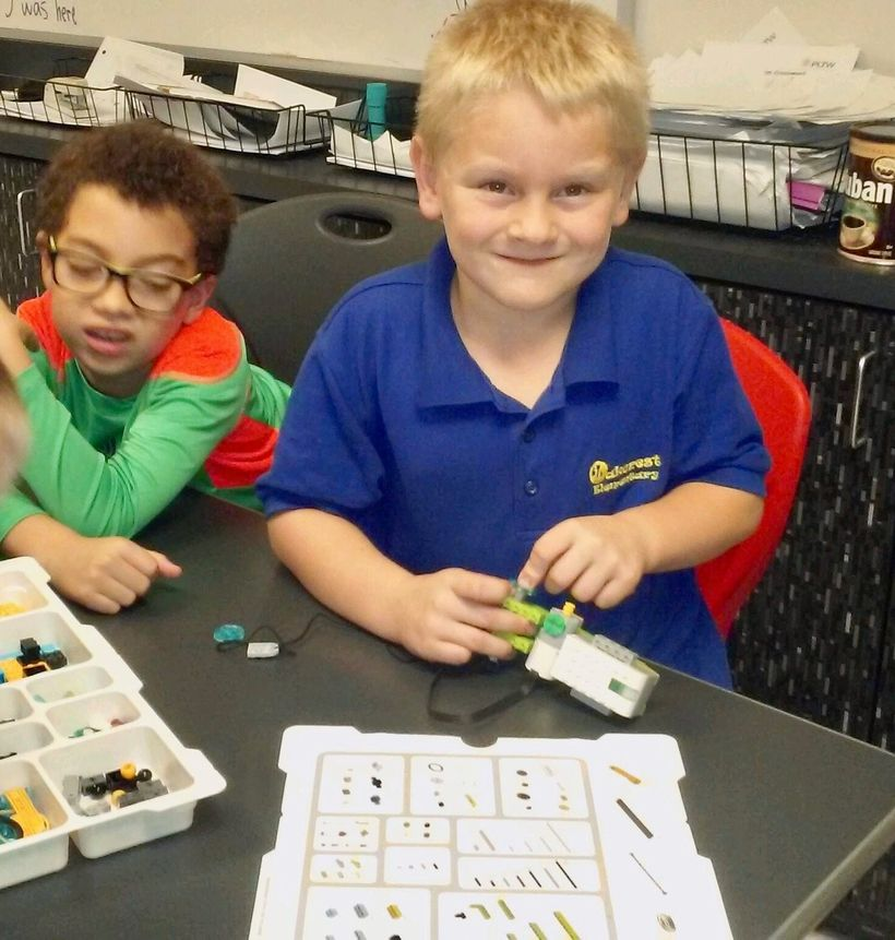 <strong>Danny, 7, learns to program a robot using a Lego Wedo Kit at The Cornerstone School in Ocala, FL.</strong>