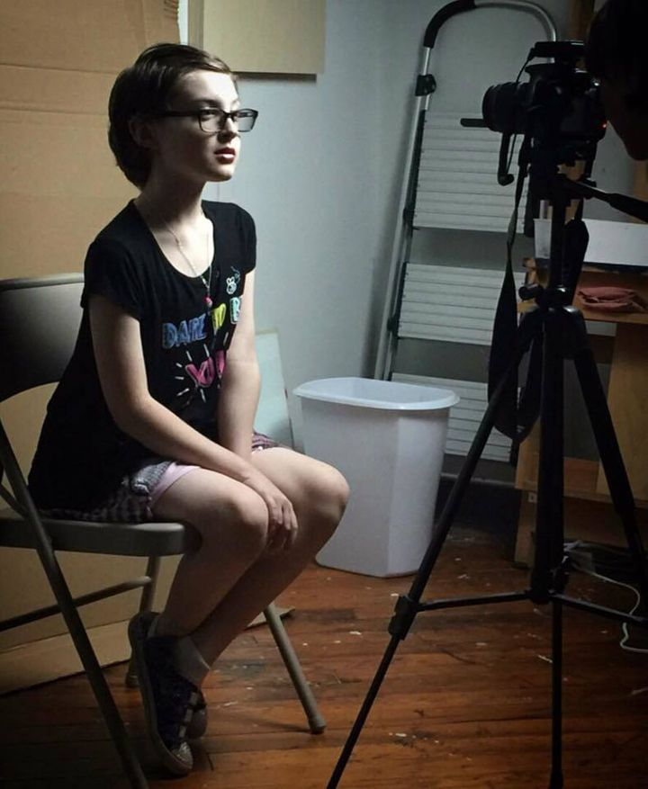 "<em>My son, posing for a photo shoot to have his portrait painted by gender-bending N.C. artist </em><a rel=""nofollow"" href="""