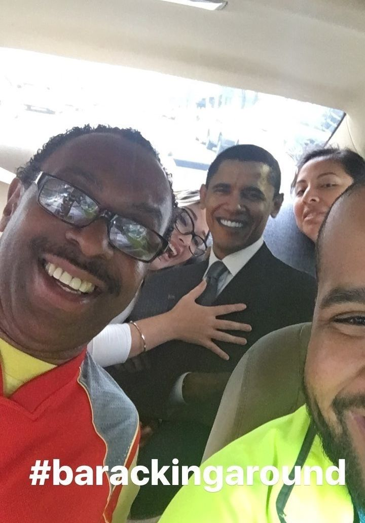 #BarackingAround with strangers in an Uber carpool