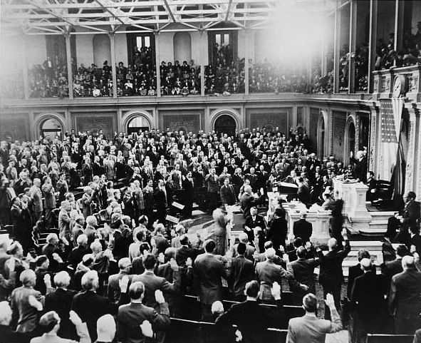 On Jan. 3, 1949, members of the 81st Congress are sworn in by Speaker Sam Rayburn.