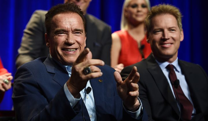 "Arnold Schwarzenegger, left, hasunveiled his new ""Celebrity Apprentice"" catchphrase."