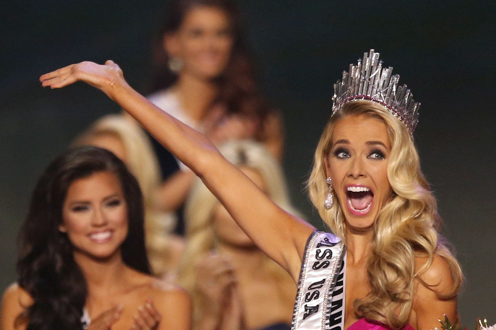 Newly crowned Miss USA Olivia Jordan of Oklahoma reacts after winning the 2015 Miss USA beauty pageant in Baton Rouge, Louisiana July 12, 2015. Fifty-one state title holders competed in the swimsuit, evening gown and interview categories for the title of Miss USA 2015.  REUTERS/Adrees Latif ATTENTION EDITORS - FOR EDITORIAL USE ONLY. NOT FOR SALE FOR MARKETING OR ADVERTISING CAMPAIGNS