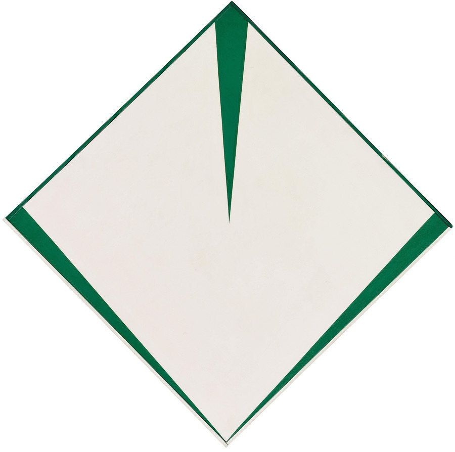 "Carmen Herrera, ""Irlanda,"" 1965, acrylic on canvas with painted frame, 34 3/4 x 34 7/8 in. (88.3 x 88.6 cm)"
