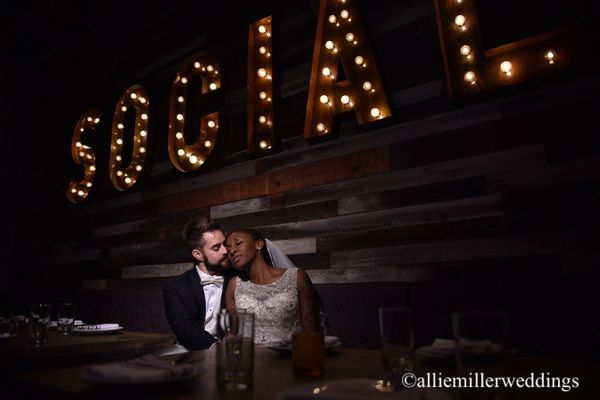 """Jonelle and David married at Social Costa Mesa in California on New Year's at midnight."" -- <i>Allie Miller</i>"