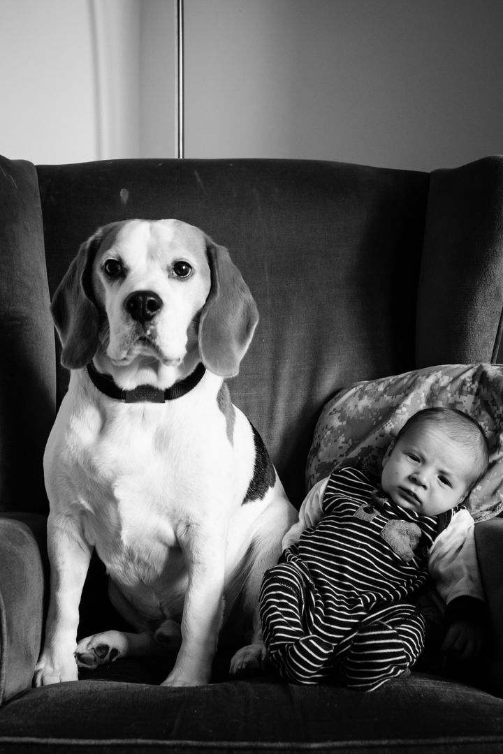For the past two years, Joneshas taken monthly photos of his son Stan sitting in a chair with their 6-year-old dog Jasper.