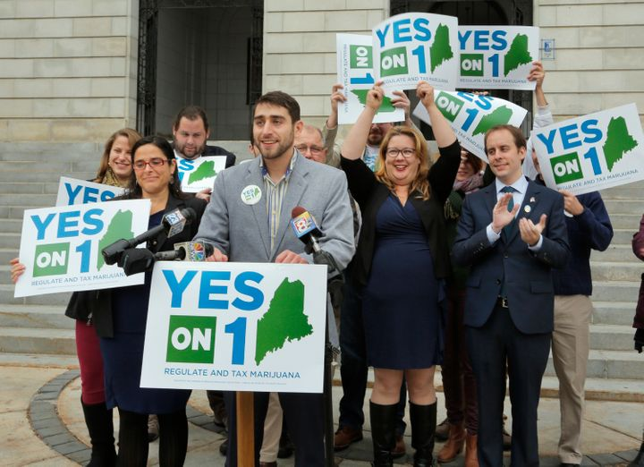 Proponents of Maine's marijuana legalization referendum claim victory at a press conference at City Hall in Portland, No