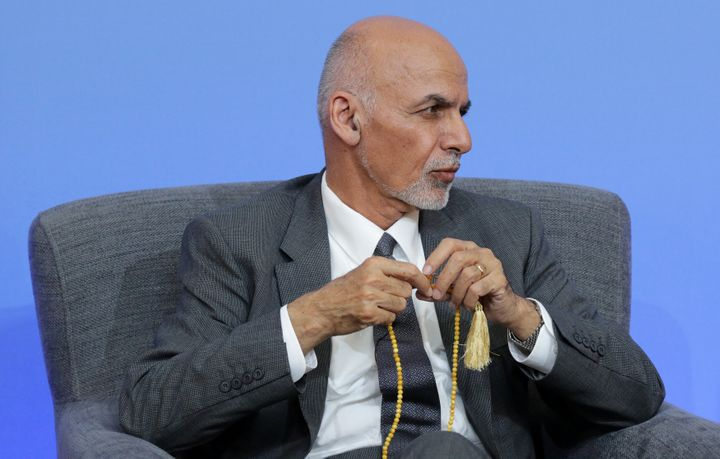 Afghan President Ghani listens to a contribution during a session at the international anti-corruption summit, London, Britai