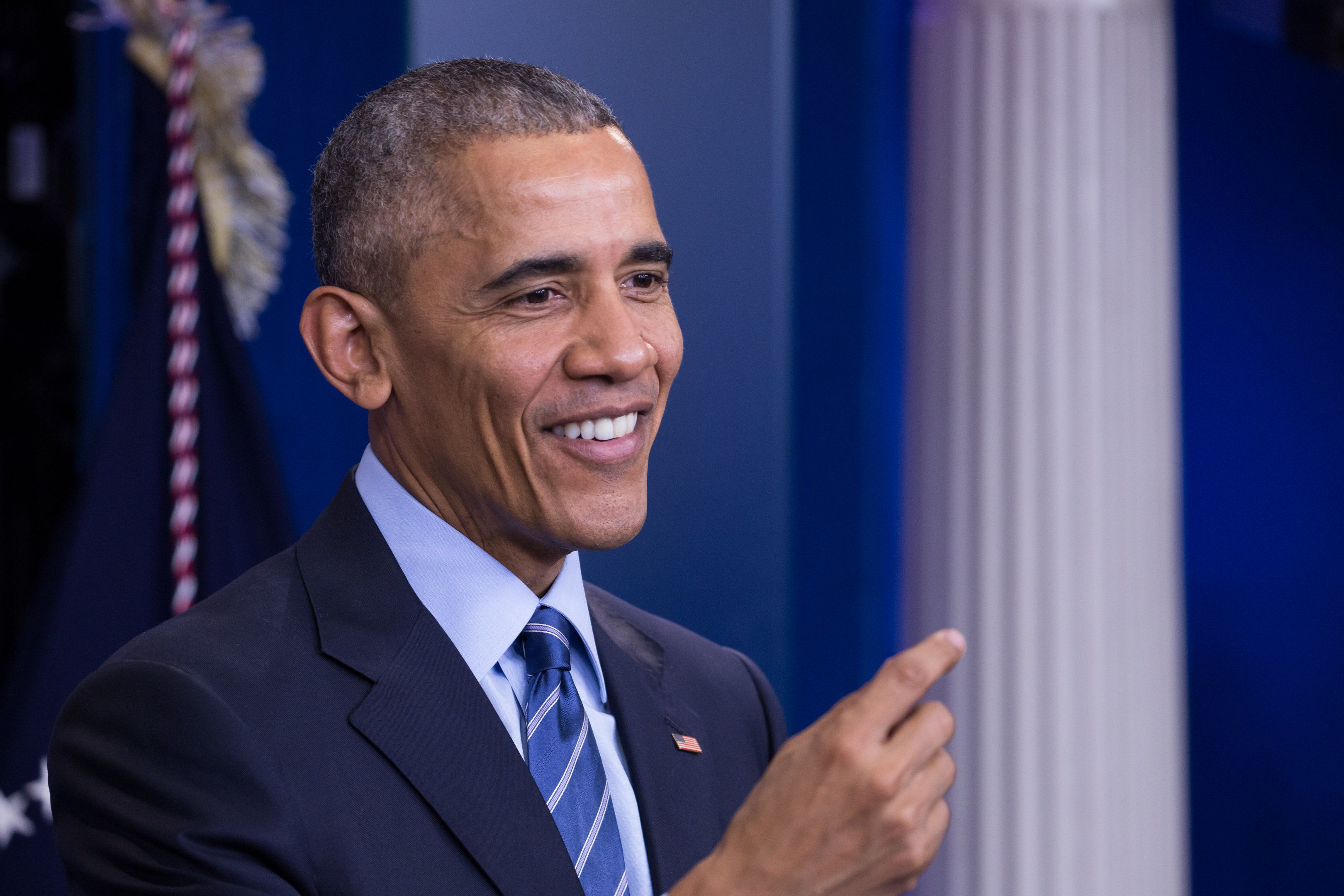 US President Barack Obama  gave his last press briefing and answered questions from reporters, in the Brady Press Briefing Room of the White House in Washington, DC, December 16, 2016. Obama on Friday warned his successor Donald Trump against antagonizing China by reaching out to Taiwan, saying he could risk a 'very significant' response if he upends decades of diplomatic tradition. (Photo by Cheriss May/NurPhoto via Getty Images)