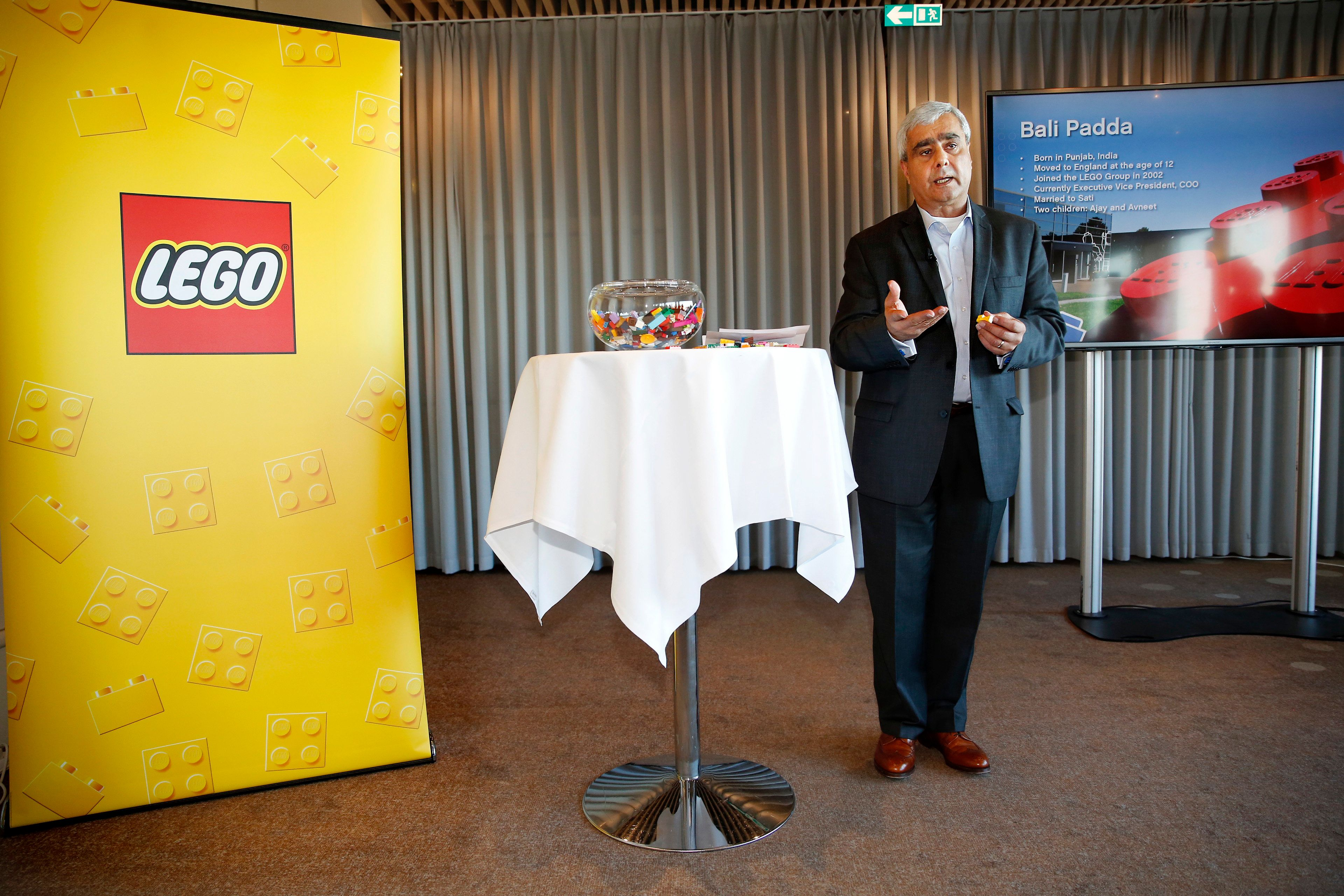 Lego's chief operating officer Bali Padda delivers a speech on December 6, 2016 at a press meeting in Copenhagen.  Danish toy maker Lego on December 6 named Bali Padda as the new chief executive as it unveiled a new structure for the group's activities that would allow it to profit from the brand's 'untapped potential'. / AFP / Scanpix Denmark / Nikolai Linares / Denmark OUT        (Photo credit should read NIKOLAI LINARES/AFP/Getty Images)
