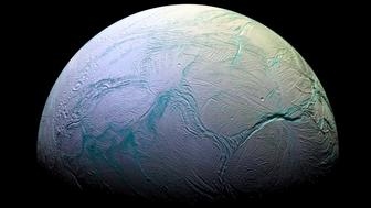 Photograph of Enceladus, the sixth-largest moon of Saturn. Dated 2015. (Photo by: Universal History Archive/UIG via Getty Images)