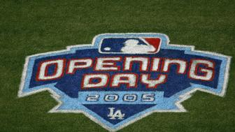 LOS ANGELES - APRIL 12:  General view of the Opening Day Logo painted on the field at the Los Angeles Dodgers home opener against the San Francisco Giants at Dodger Stadium on April 12, 2005 in Los Angeles, California.  The Dodgers defeated the Giants 9-8. (Photo by Lisa Blumenfeld/Getty Images)
