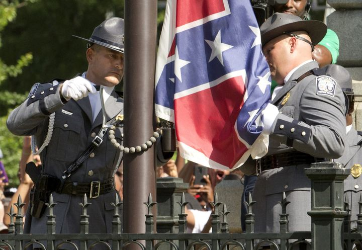The Confederate battle flag is permanently removed from the South Carolina statehouse grounds during a ceremony in Columbia,