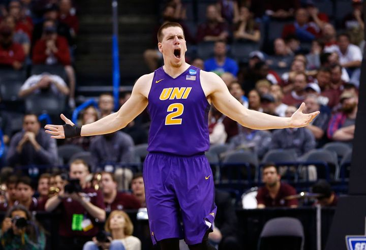 Mar 20, 2016; Oklahoma City, OK, USA; Northern Iowa Panthers forward Klint Carlson (2) reacts in the second half against the