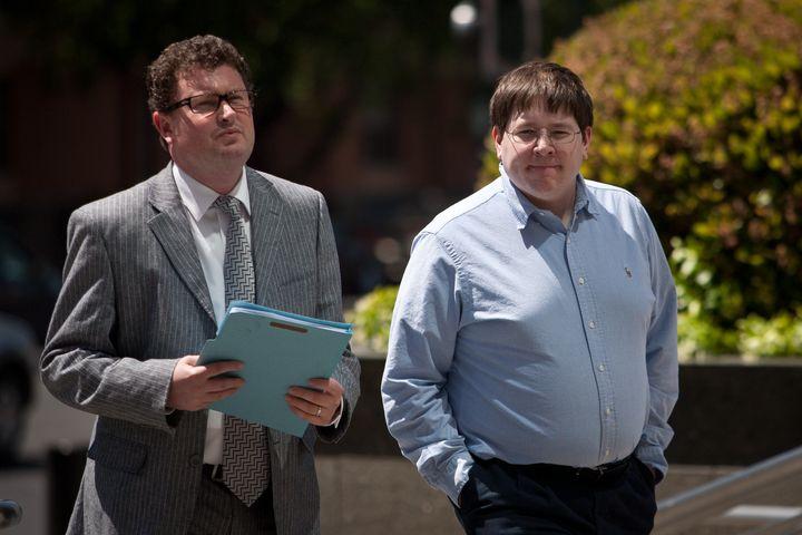 Former Reuters social media editor Matthew Keys (R) arrives at the federal courthouse April 23, 2013 in Sacramento, Californi