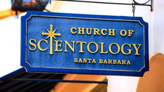 Santa Barbara CA, USA - June 26, 2015: Overhead sign for the Church of Scientology in Santa Barbara, California