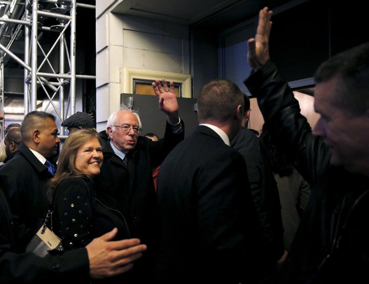 """U.S. Democratic presidential candidate Bernie Sanders and his wife Jane arrive to see the show """"Hamilton"""" in New York April 8"""