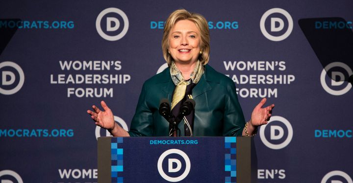 Hillary Clinton speaks during the Democratic National Committee's Women's Leadership Forum in Washington, D.C., U.S., on Frid
