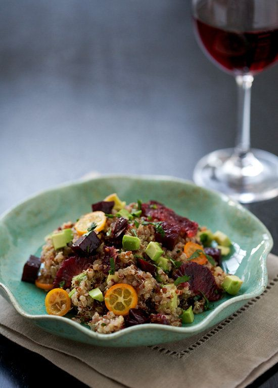 "<strong>Get the <a href=""http://www.loveandoliveoil.com/2011/04/beet-blood-orange-kumquat-and-quinoa-salad.html"" target=""_bla"