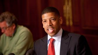 NEW YORK - APRIL 14: Sacramento Mayor Kevin Johnson speaks to the media at the 2011 Board of Governors meetings on April 14, 2011 at the St. Regis Hotel in New York City. NOTE TO USER: User expressly acknowledges and agrees that, by downloading and/or using this photograph, user is consenting to the terms and conditions of the Getty Images License Agreement.  Mandatory Copyright Notice: Copyright 2011 NBAE (Photo by Steve Freeman/NBAE via Getty Images)