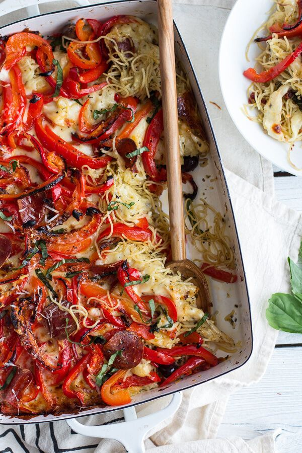 "<strong>Get the <a href=""http://www.halfbakedharvest.com/dads-friday-night-pasta-dish/"" target=""_blank"">Red Pepper Pasta Bake"