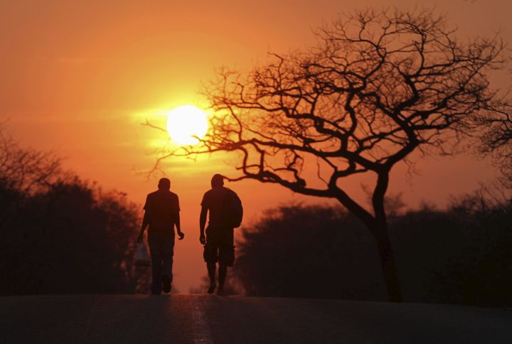 Two men are silhouetted as they walk towards the setting sun inside Hwange national park, September 27, 2015.
